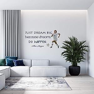 "Alex Morgan Soccer Quote | Girl's Vinyl Wall Decal/Decor - USA World Cup Football Decoration - 20""x12"" [V12 FBA] (Multi)"