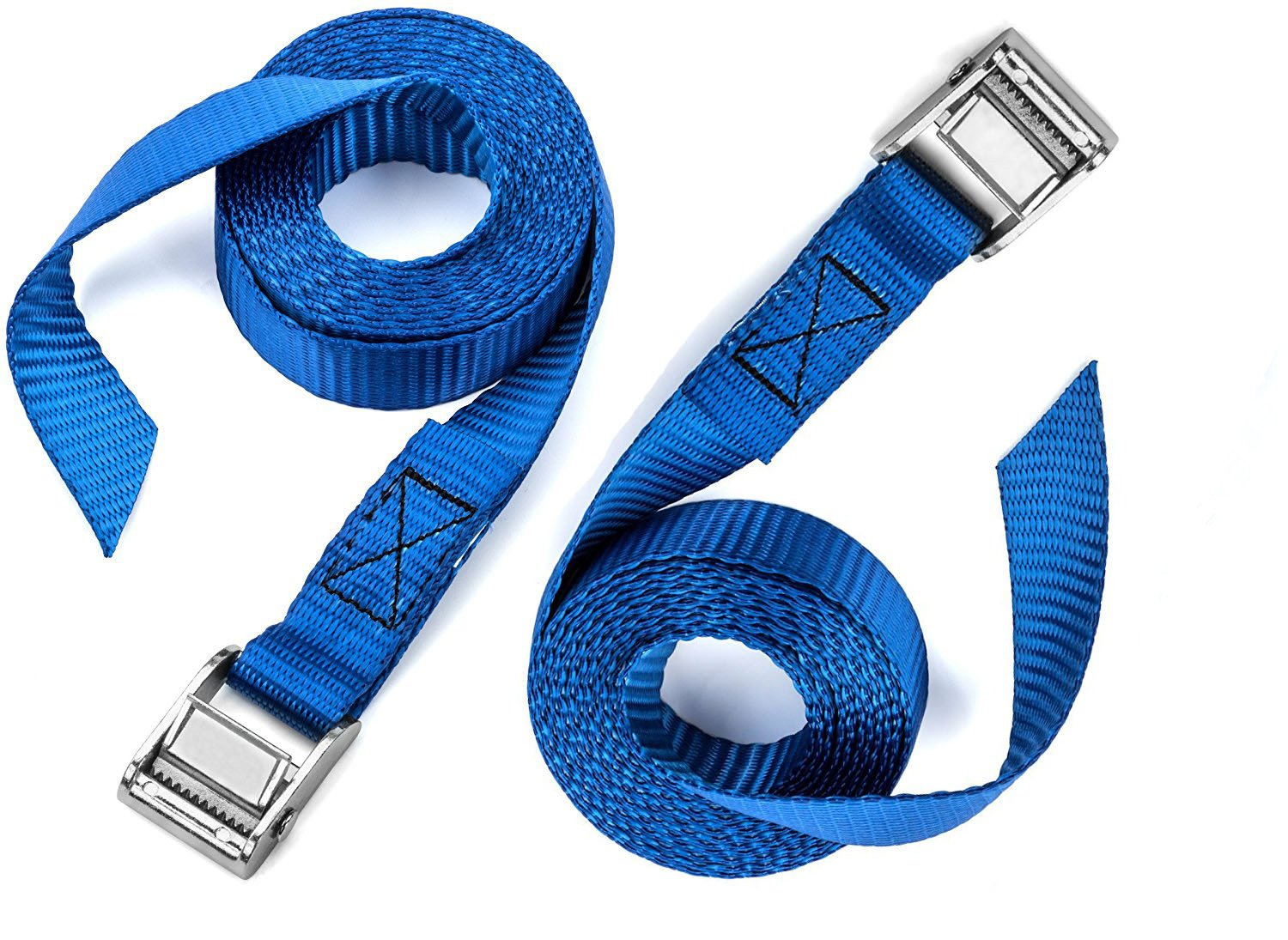 2 PCS of Premium Lashing Straps by VVHOOY - 12 Ft Long - Rated 250 lbs - for Roof Racks Moving Canoes and Tie Down Strap for Kayaks Carriers Blue