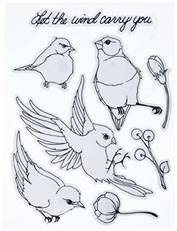 Prima Marketing Birds Bloom Cling Rubber Stamps 8 X 6quot