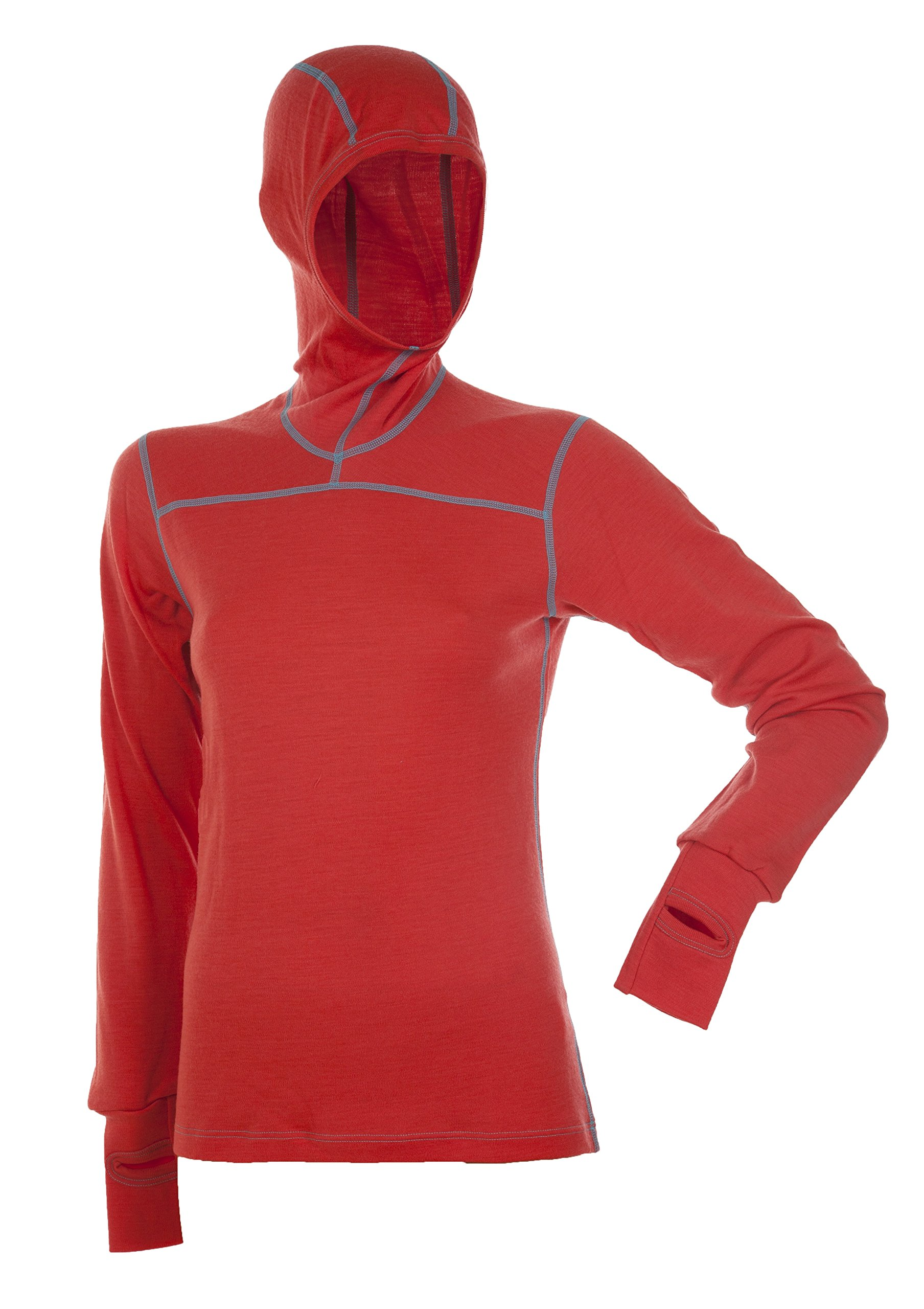Janus 100% Merino Wool Women's Long Sleeve W/Hood Machine Washable Made in Norway (Small, Coral)