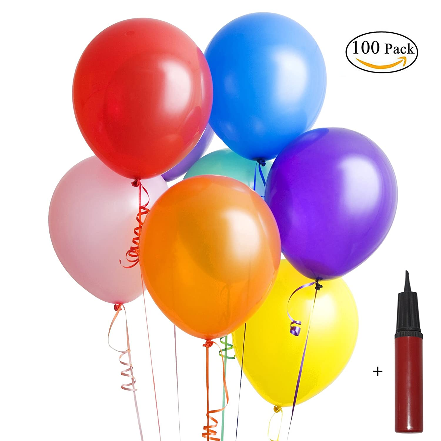 Fooxon Balloons, Assorted Colour Latex Party Balloons 10 Inch 100PCS with Pump for Party Birthday Weddings (Random Colour)