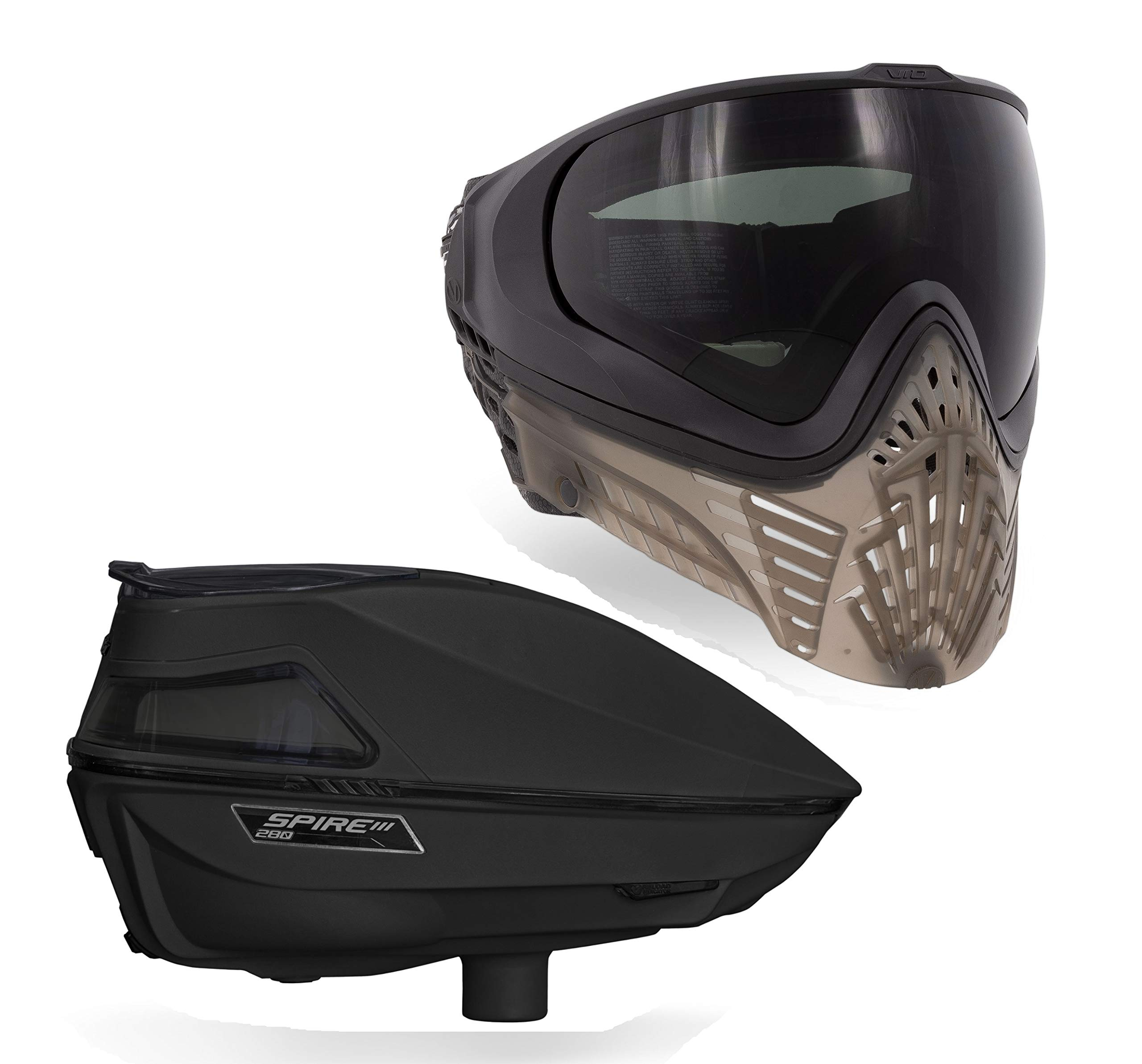 Virtue VIO XS II Paintball Goggle and Spire III 280 Paintball Loader Bundle - Black Smoke by Virtue Paintball