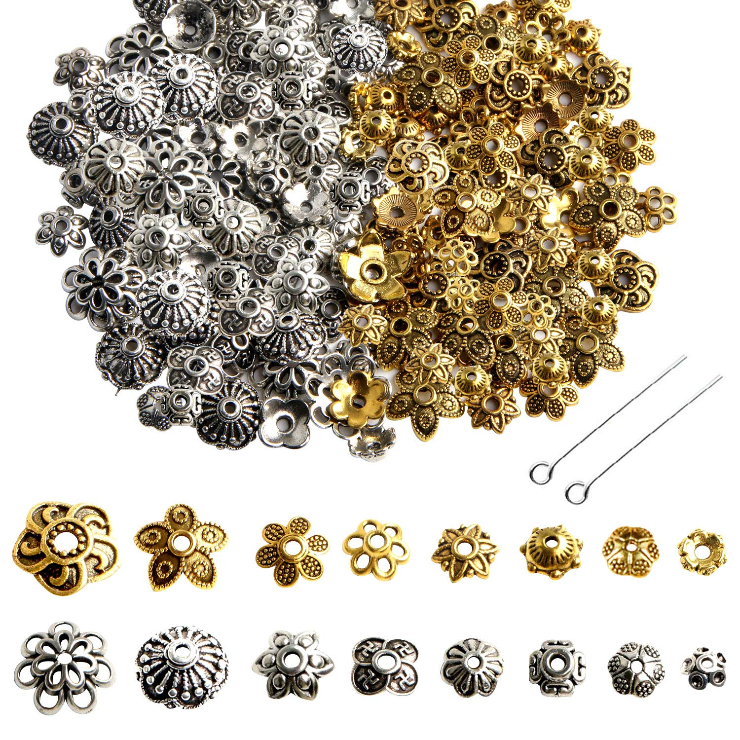 Ship Straight and Unbent Eye Pins for Jewelry Making Flat-Head Brass Dressmaker Eyepins 150 Pieces, 3 Inches, 76mm, 22 Gauge Jewellery Making Kit for Crafting Earrings and Bracelets