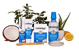 Lumineux Oral Essentials Teeth Whitening Kit - Includes 14 Whitening Strips, 7 Treatments | 1 Whitening Mouthwash, 1 Whitening Toothpaste & 1 Bamboo Toothbrush | Certified Non Toxic, Fluoride Free