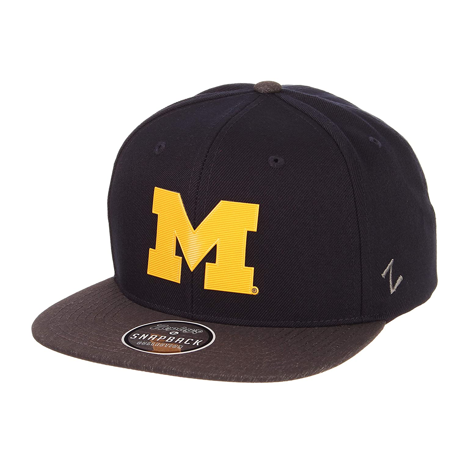 Team Color//Dark Gray Adjustable NCAA Zephyr Michigan Wolverines Mens Imprint Platinum Logo Snapback Hat