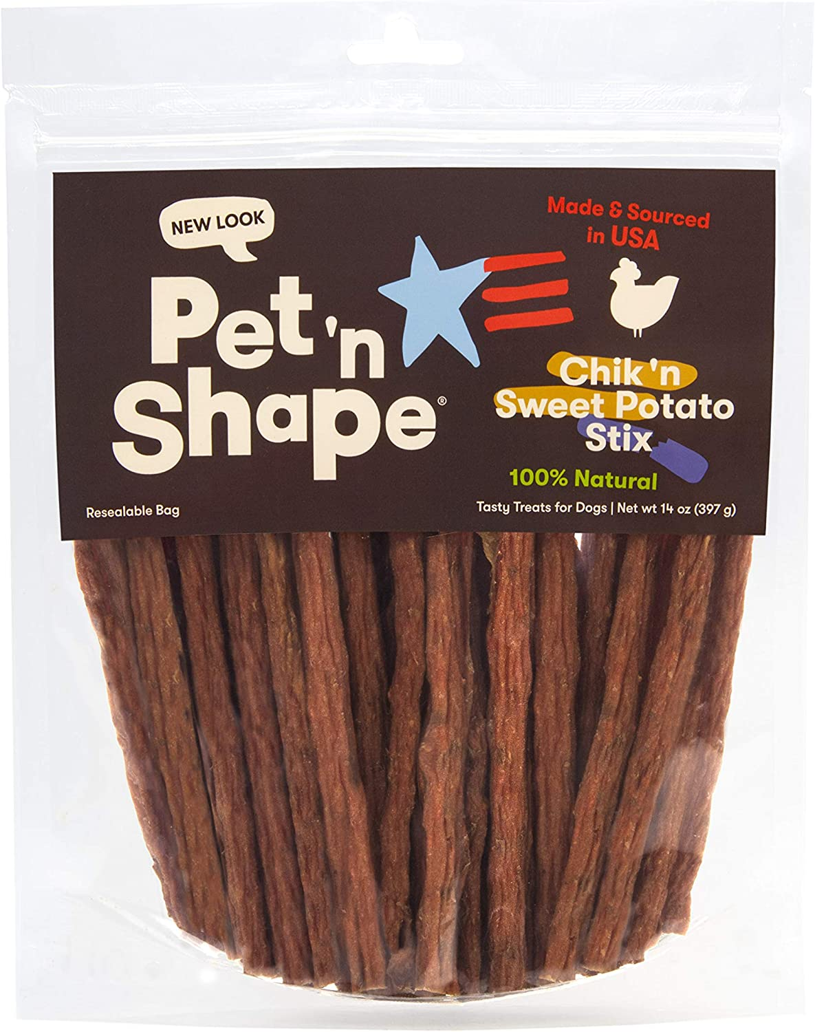 Pet 'n Shape Chik 'n Sweet Potato Stix – Made and Sourced in the USA-All Natural Healthy Dog Treat