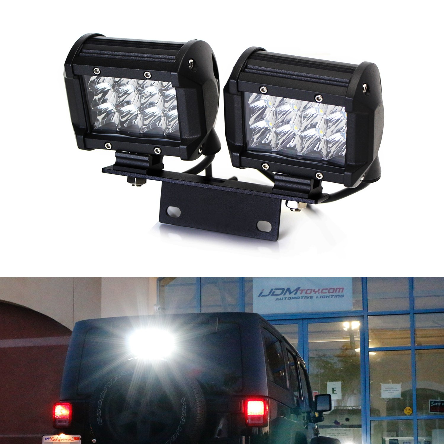 for 2007-17 jeep wrangler jk, includes (2) 36w led pod lamps, brake  lamp mount bracket & relay wiring switch as driving/search, reverse backup  lights