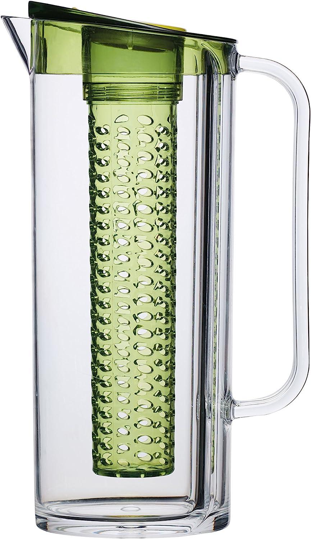 Kitchencraft – jarra de agua con infusor de frutas, saludable, sin BPA, 1,5l, transparente/verde