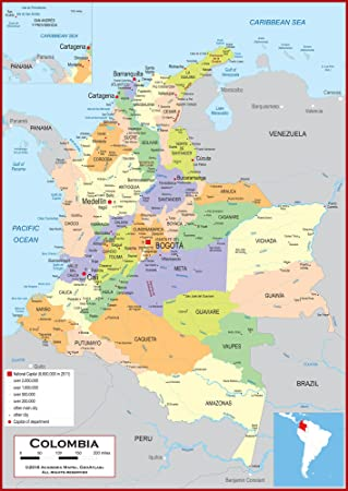 Amazon Com Academia Maps Wall Map Of Colombia Fully