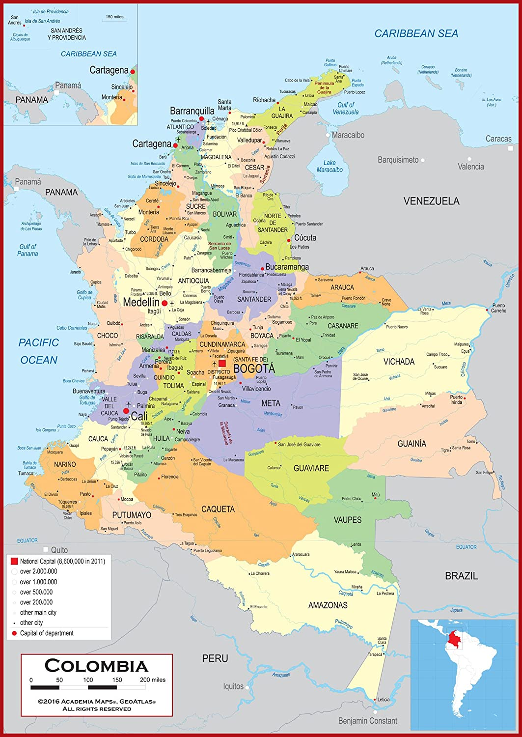 Amazon.com : Academia Maps - Wall Map of Colombia - Fully Laminated - Classroom Style - Several sizes! : Office Products