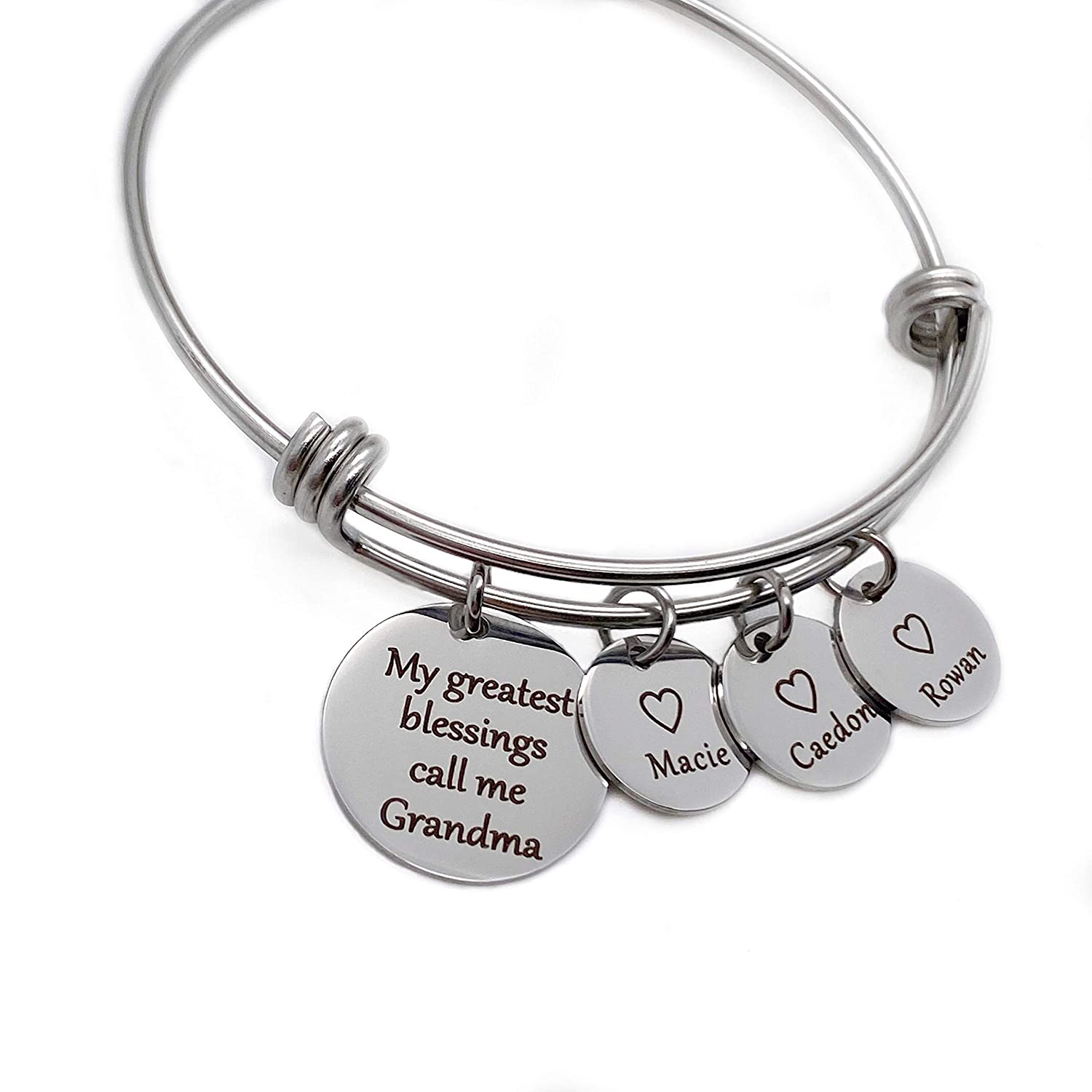 """Personalized Engraved Name Charm Bracelet Gift for Grandma or Mom""""My greatest blessings call me."""" Silver, Rose & Yellow Gold"""