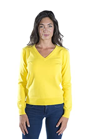 1c9dc9de668b MY BASIC Stretch Baumwolle Pullover Damen mit V-Ausschnitt  Amazon ...