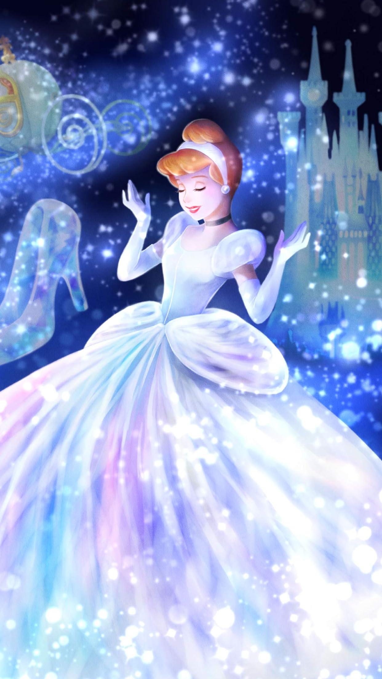 ディズニー 魔法の光に包まれて(シンデレラ)  iPhone8,7,6 Plus 壁紙(1242×2208)画像