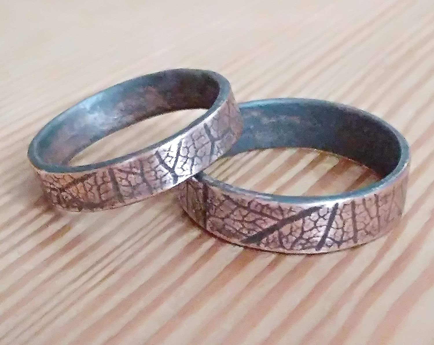 His and Her Couple Engagament Promise Rings Bands for Two Handmade Copper Oxidized Rings Leaf Engraved Personalized in Hebrew or English Texture Band Wedding Unique Ring Rustic Mens Band Unisex ring