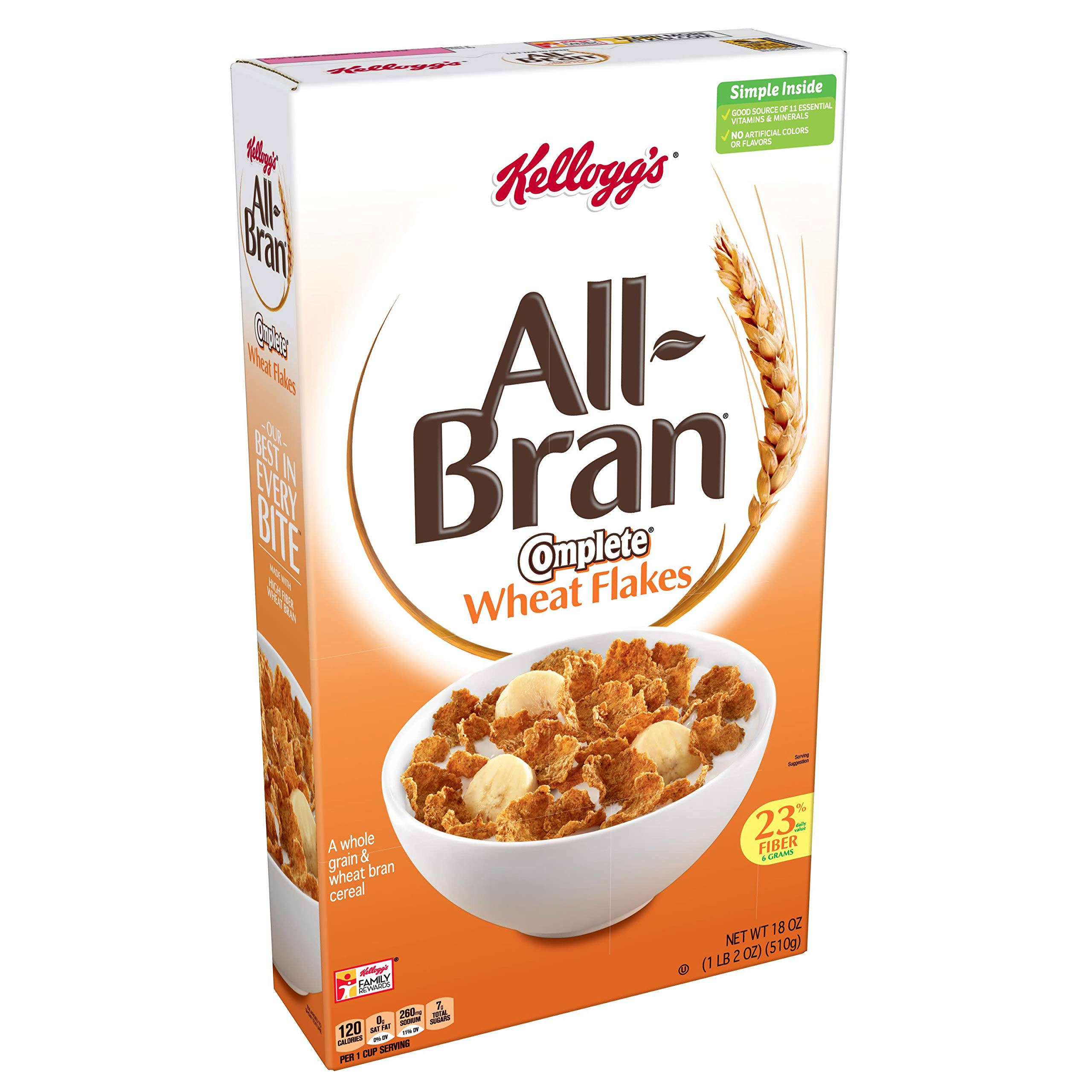 Kellogg's All-Bran Complete Wheat Flakes, Breakfast Cereal, Excellent Source of Fiber, 18oz Box