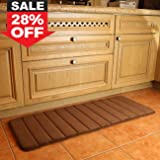 """K-MAT 47"""" x 17"""" Long Anti-Fatigue Memory Foam Kitchen Mats Bathroom Rugs Extra Soft Non-Slip Water Resistant Rubber Back Anti-slip Runner area rug for Kitchen and Bathroom (120x45CM) Brown."""