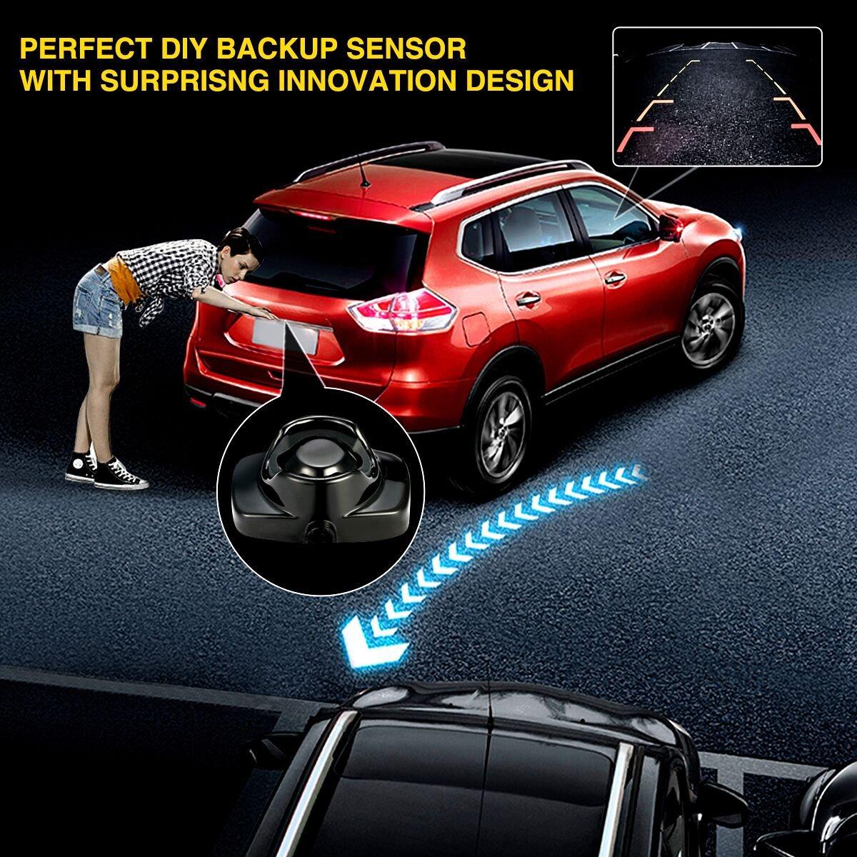 TVIRD - Kit de sensor de aparcamiento trasero de marcha atrás con sistema de radar de marcha atrás, 8 sensores con pantalla de visión, sensor de radar ...