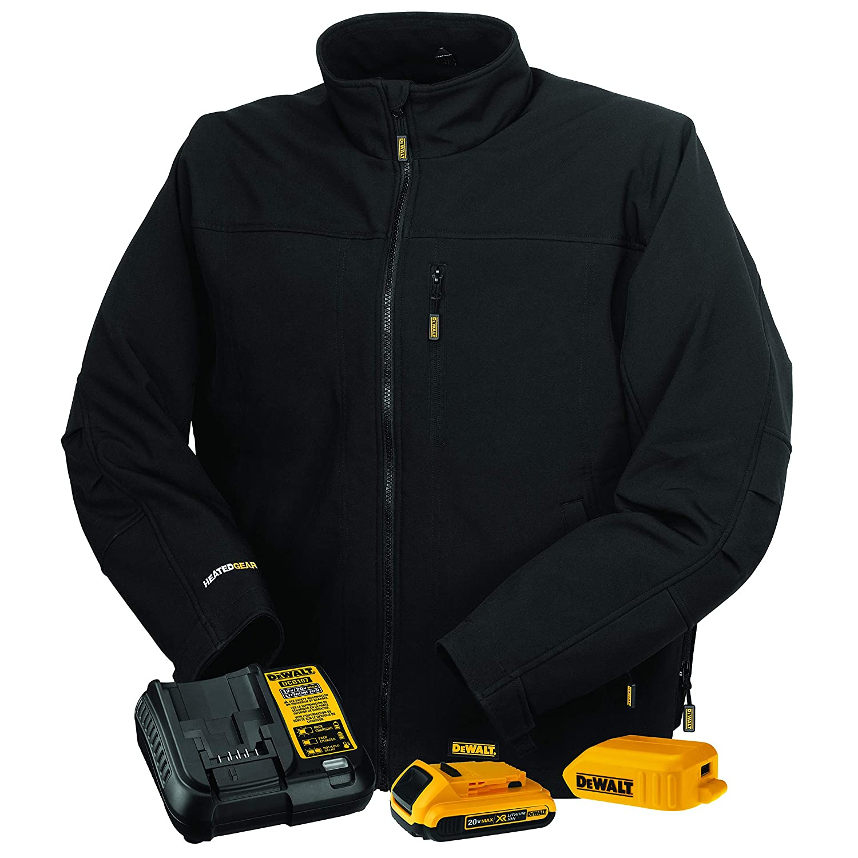 DEWALT 20V/12V MAX Lithium Ion Soft Shell Heated Work Jacket with Battery Kit