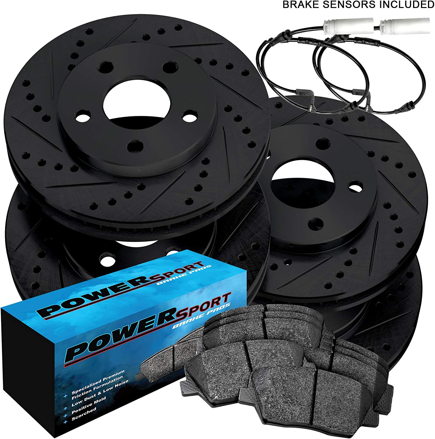 For Porsche Cayenne Front Rear Black Drill Slot Brake Rotors+Ceramic Brake Pads
