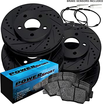 For 2004-2010 BMW X3 Front Rear eLine Black Drill Slot Brake Rotors+Ceramic Pads