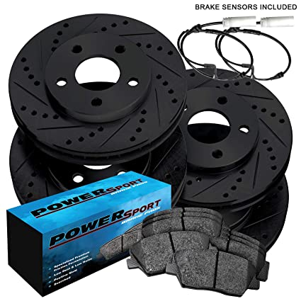 Fits 2005-2010 Scion tC Rear Black Drill Slot Brake Rotors Ceramic Brake Pads