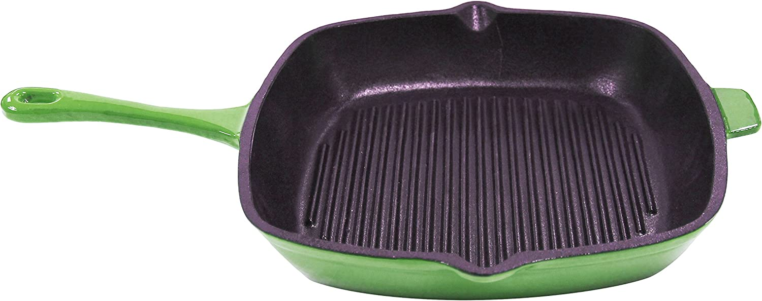 Berghoff Neo 11-Inch Cast Iron Grill Pan, Green