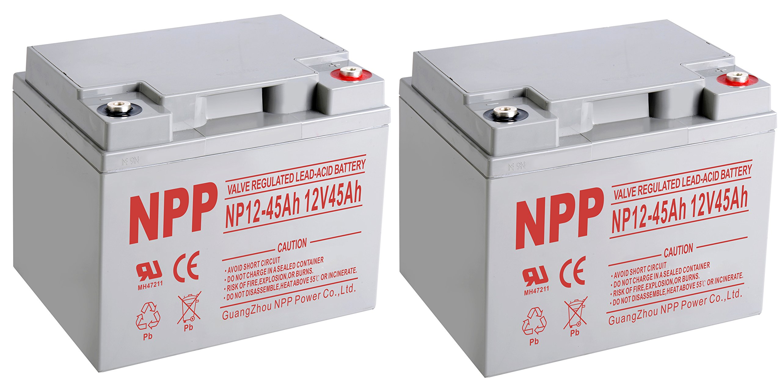NPP NP12-45Ah 12V 45 Ah Rechargeable Sealed Lead Acid Battery with Button Style Terminals / (2pcs) by NPP