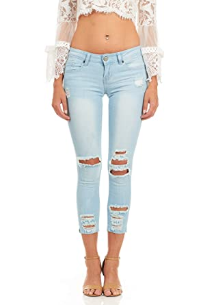 fb26abf58dc3 Cover Girl Women's Juniors and plus size ripped distressed tight ...