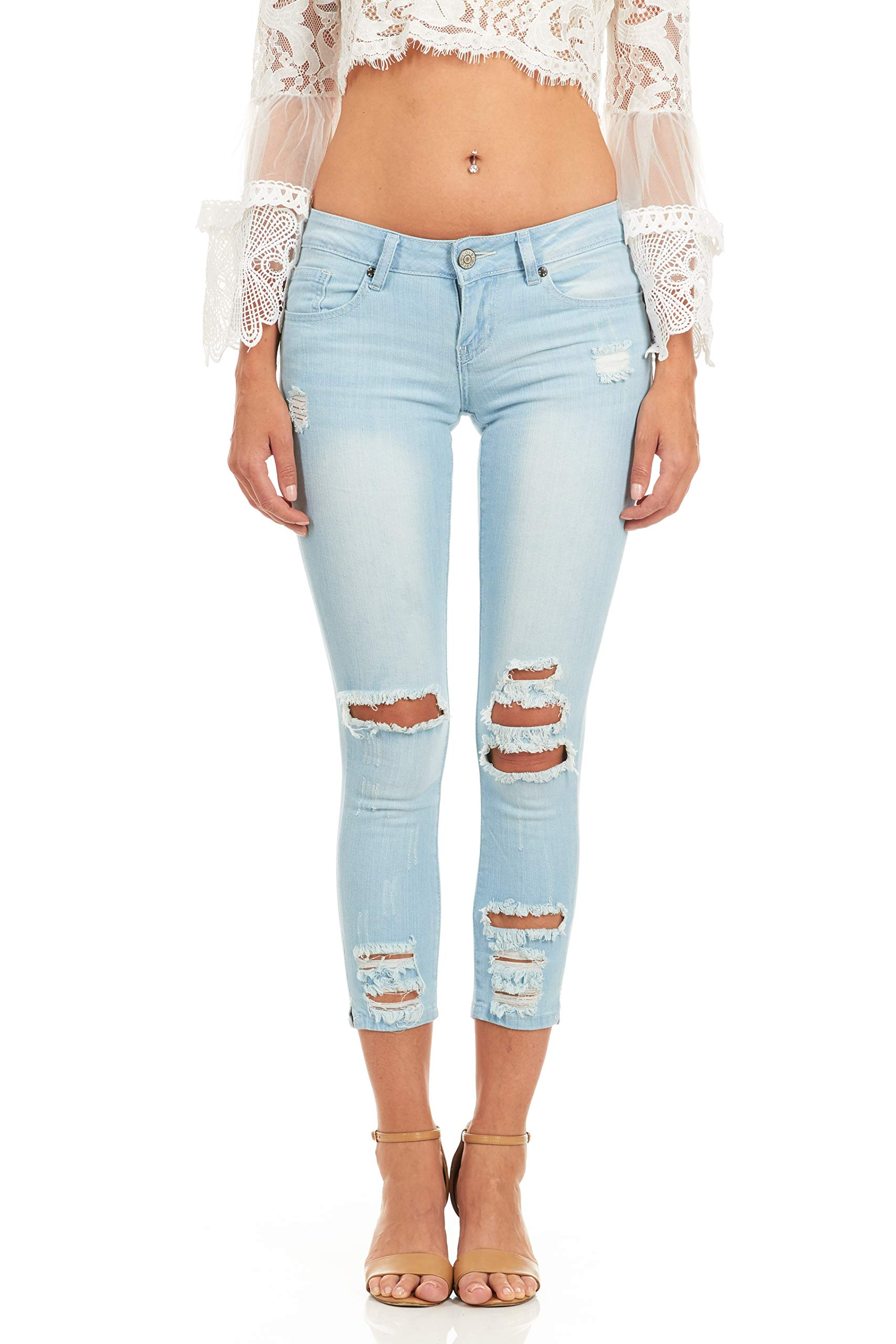 Cover Girl Women's Ripped Cropped Skinny Jeans, Baby Blue, 78