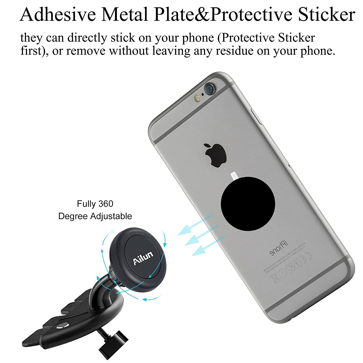 Car Phone Mount,CD Slot Magnetic Car Mount Magnet Key Holder,by Ailun,Universal for iPhoneX//Xs//XR//Xs Max//8//7//6//6s Plus,Galaxy S7//S8//S9 Plus,Google,LG,HTC and More Devices Siania 4336707144