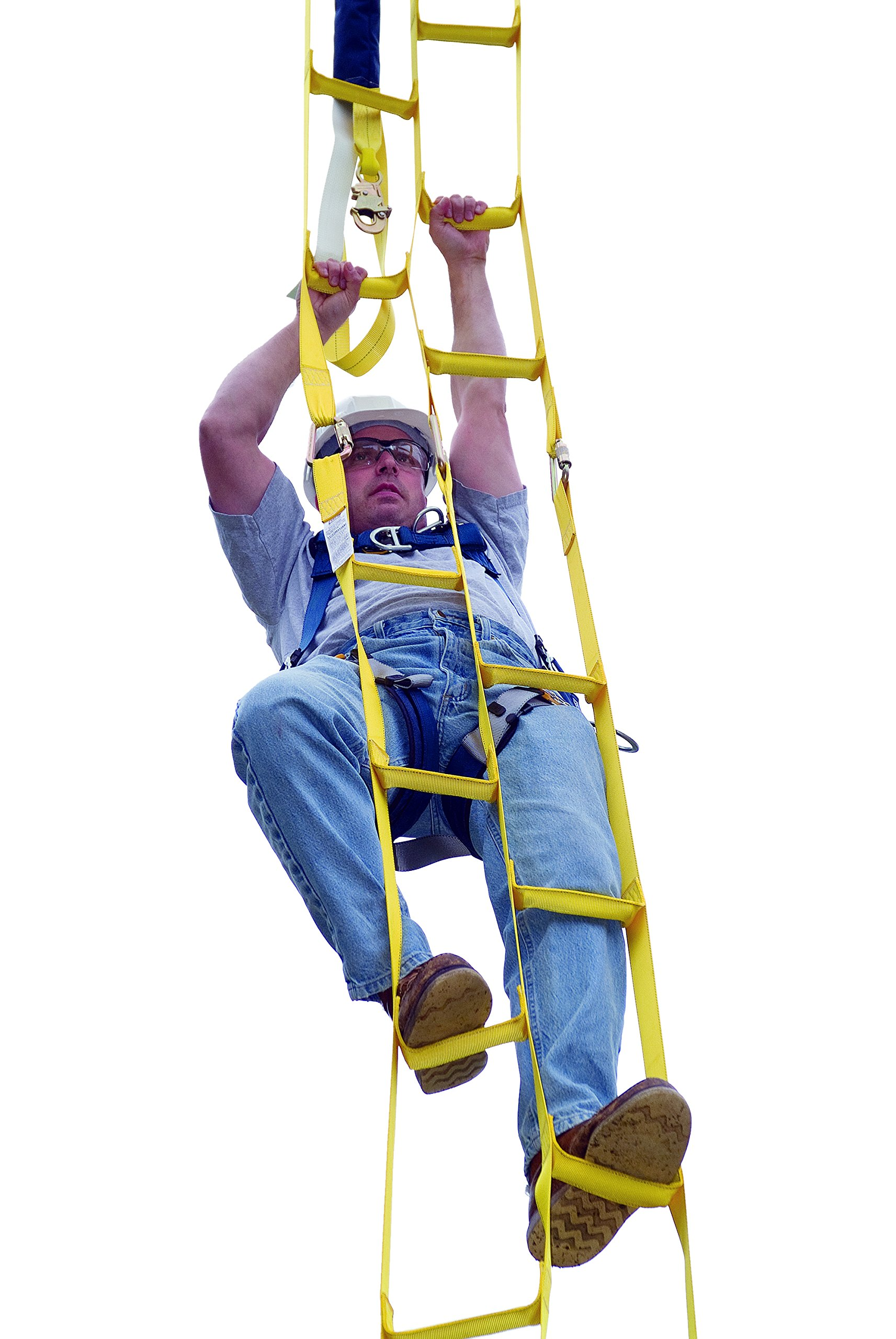 3M DBI-SALA 8516294 Rollgliss 8' Synthetic Web Rescue Ladder with Reinforced Rigid Staggered Steps, Yellow
