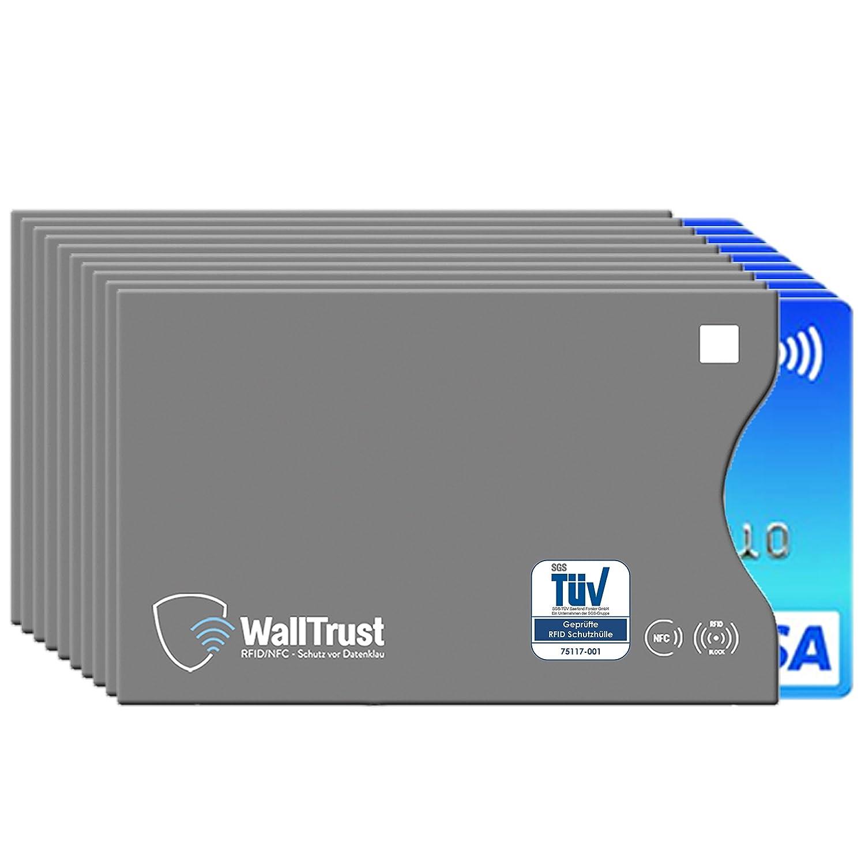 WallTrust® protectoras de RFID NFC | Protección * Aprobado TÜV Alemán * | 10 Fundas para Tarjeta de Crédito Débito Identificación | apertura lateral: ...
