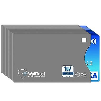 WallTrust® protectoras de RFID NFC | Protección * Aprobado TÜV Alemán * | 10 Fundas para Tarjeta de Crédito Débito Identificación | apertura lateral