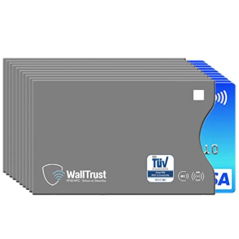 aab4c16612 WallTrust RFID NFC Cover protettiva per carte di credito, aperto a lato, 10x