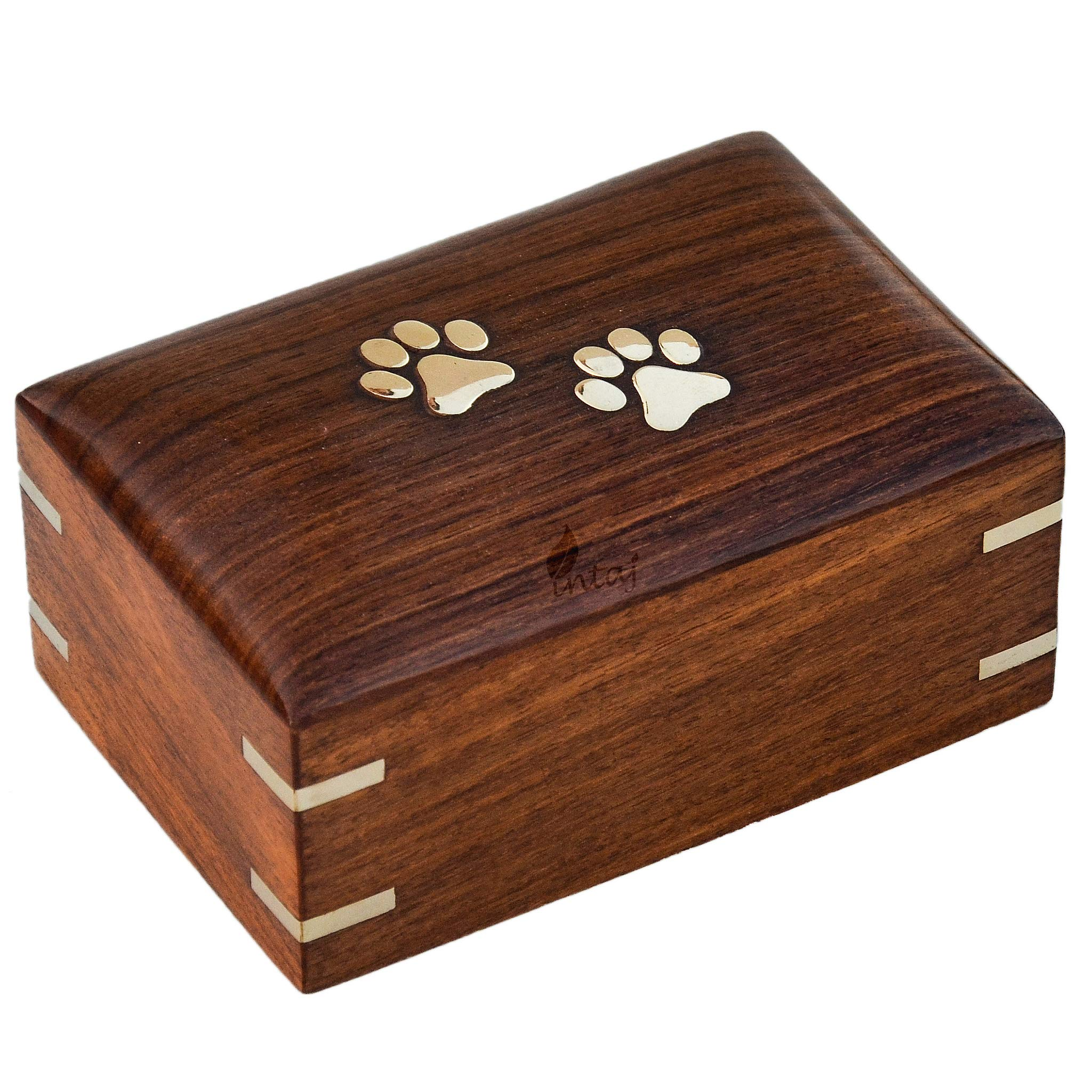 INTAJ Handmade Rosewood Pet Urns for Dogs Ashes, Wooden Urn for Ashes | Handcrafted Urns for Dogs/Cats Pets Ashes | Memorial Keepsake Funeral Urn Box (Two Paws, L - 8x6x3.5)