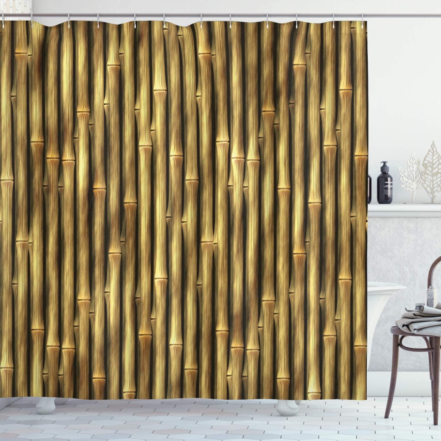 """Ambesonne Beige Shower Curtain, Tropical Bamboo Poles Woody Grass Tall Thin Harvest Natural Artprint, Cloth Fabric Bathroom Decor Set with Hooks, 84"""" Long Extra, Yellow"""