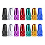 Shappy 14 Pieces Aluminium Alloy Valve Caps French Style Valve Stems Covers for Bikes and Bicycles, 7 Colors