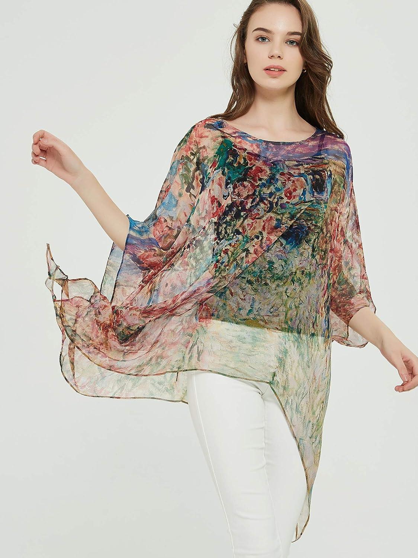 prettystern 100% Seta Poncho Tunica Kimono Camicetta Vestito dalla Spiaggia di Estate - One Size Fits all Claude Monet: Casa Sotto Le Rose
