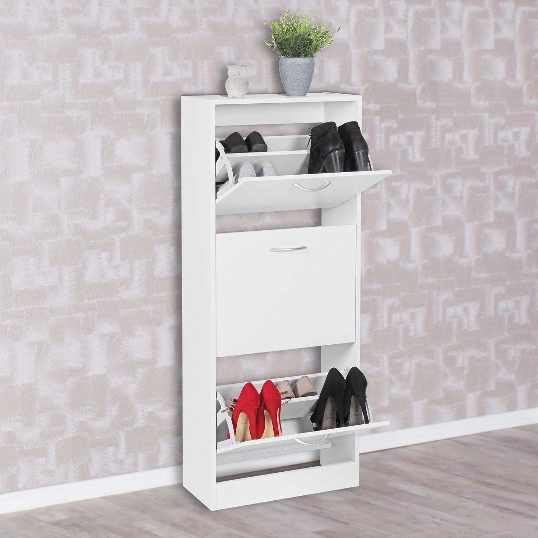 125 cm Zapatero Bell con 3 Compartimentos para Zapatos c/ómoda KadimaDesign 125 x 50 cm para 18 Pares Moderno Color Blanco Zapatero