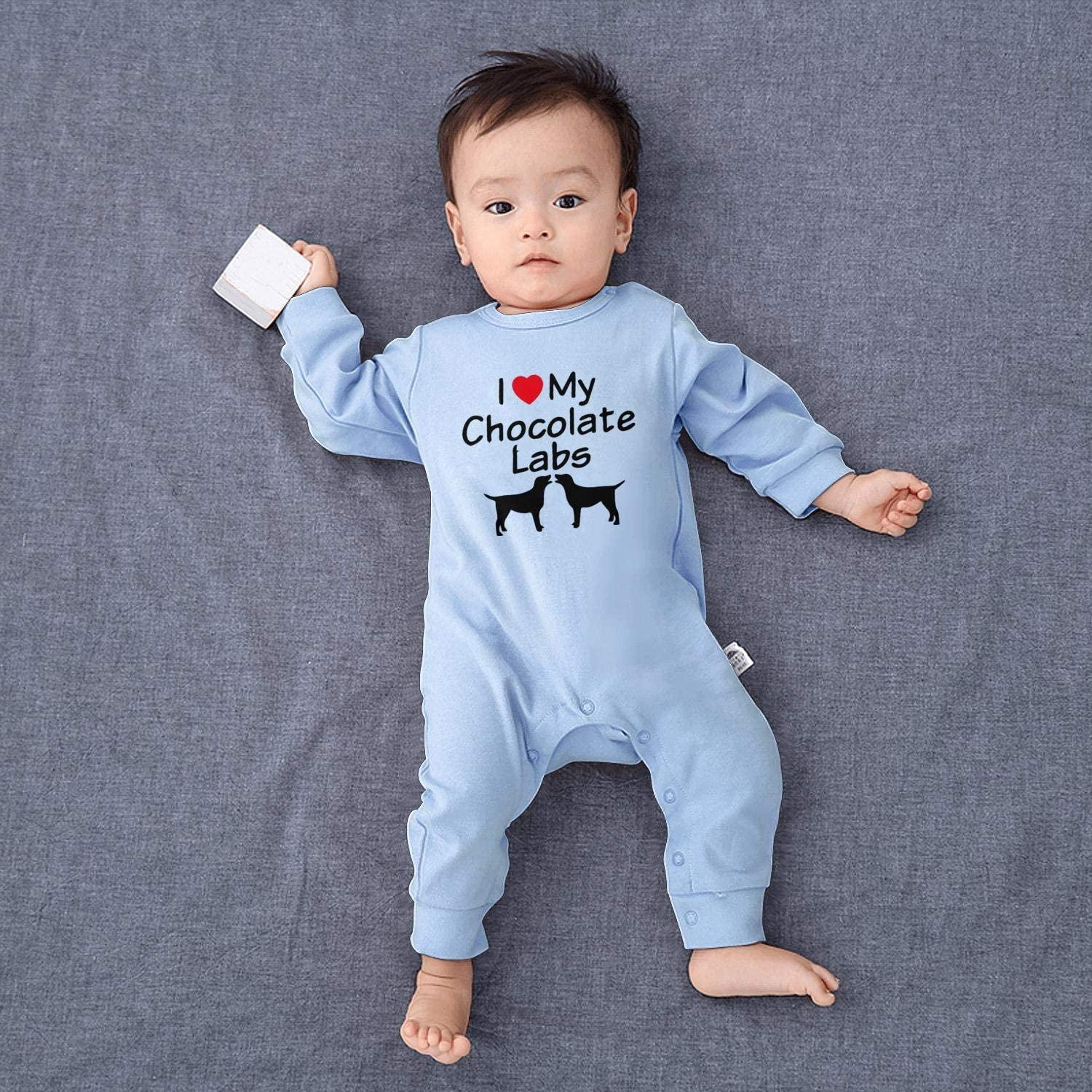 I Love My Two Chocolate Lab Dogs Footed Pajamas Long Sleeve 100/% Cotton Onesie