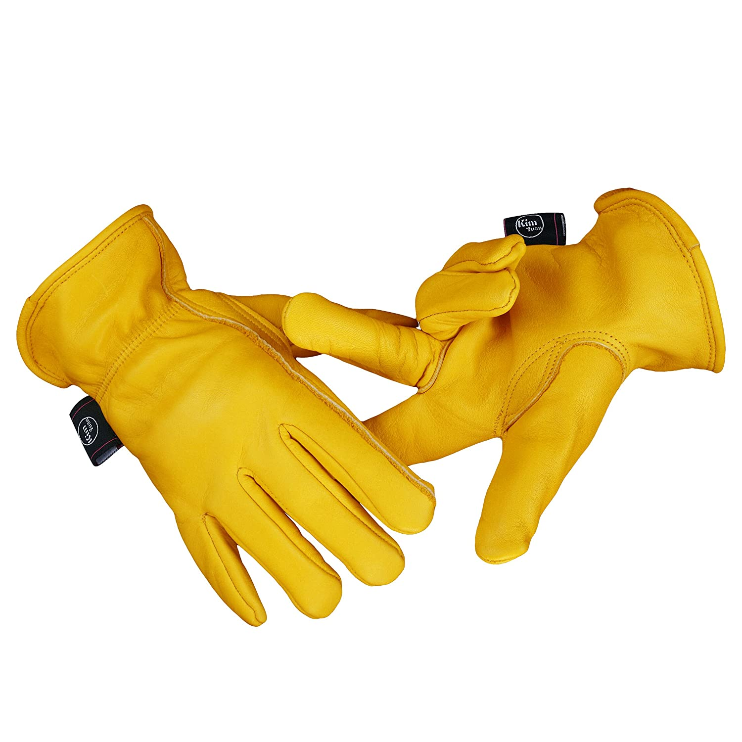 Men /& Women Large with Elastic Wrist KIM YUAN Leather Work Gloves for Gardening//Cutting//Construction//Motorcycle//Farm