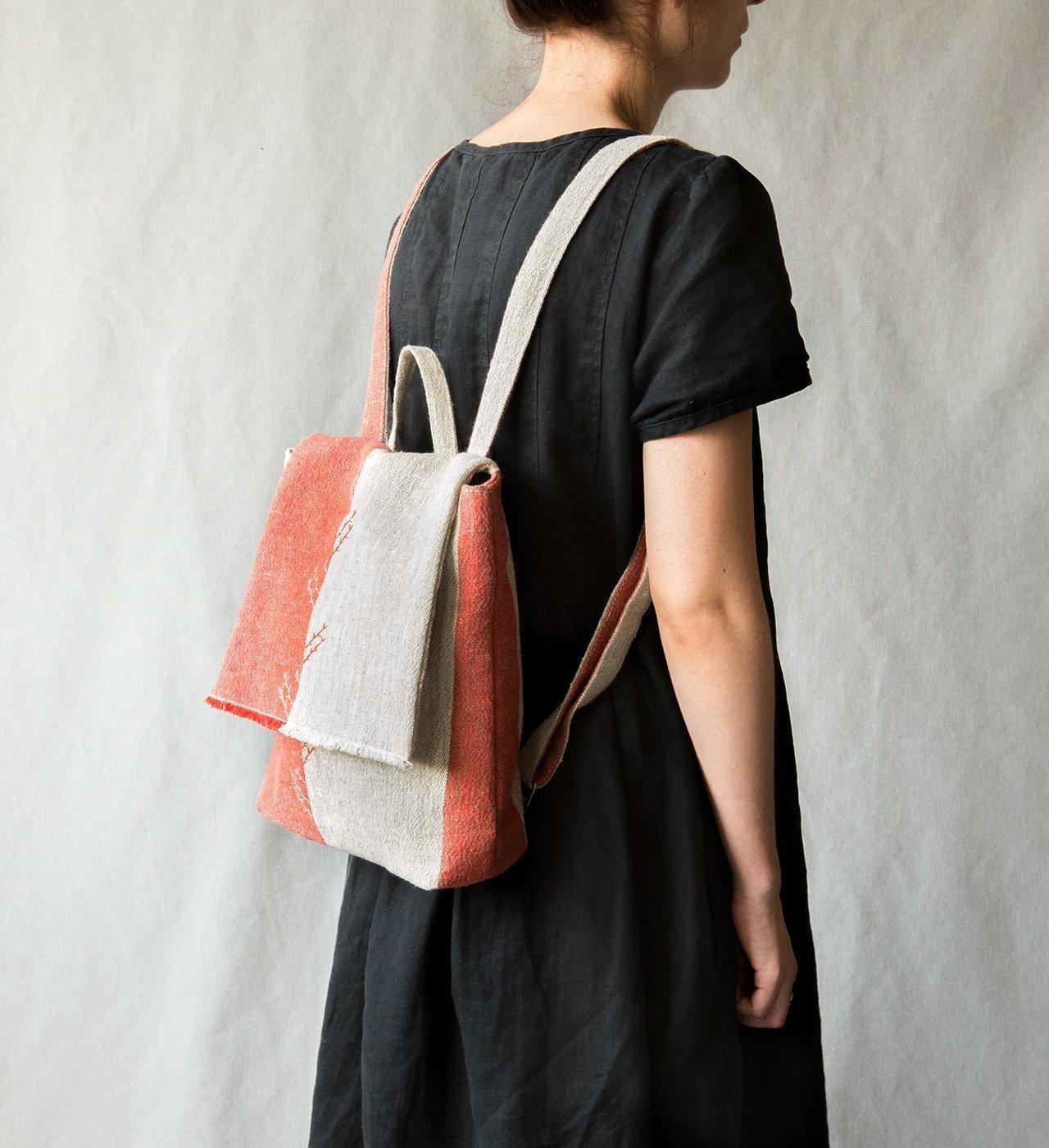 Linen Backpack linen bag textile small backpack summer bag embroidered bag women's backpack red grey bag organic cotton bag mini backpack