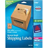 Avery Internet Shipping Labels, Ink Jet and Laser, Brown Kraft, 50 Labels (5783)