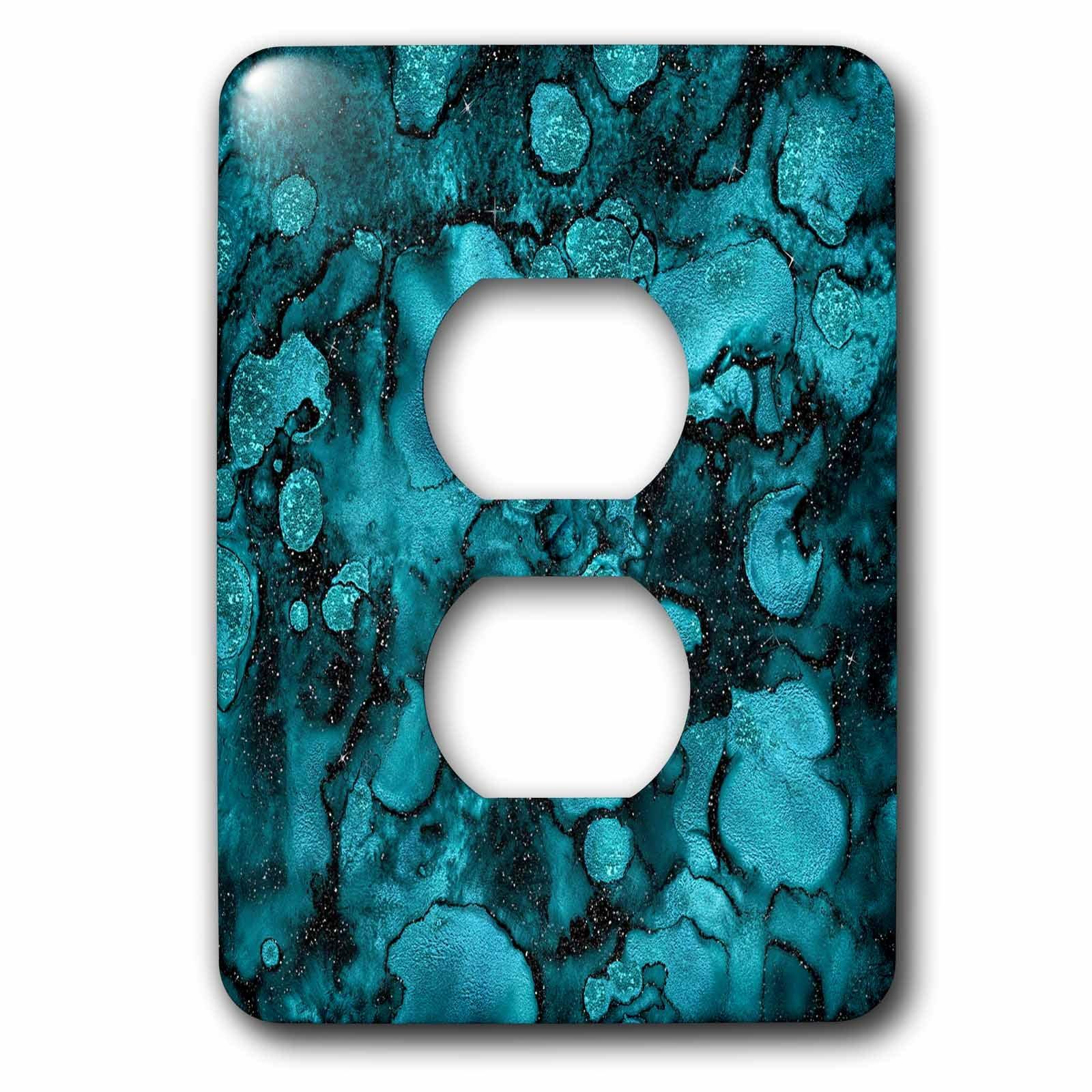 3dRose Uta Naumann Faux Glitter Pattern - Luxury Ink Malachite Ombre Gem Marble Glitter Metallic Faux Print - Light Switch Covers - 2 plug outlet cover (lsp_269024_6)