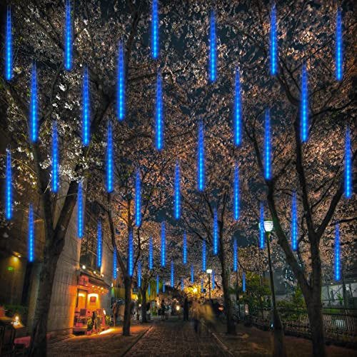 Meteor Shower Rain Lights Christmas Falling Rain Lights 11.8 inch 8 Tubes 192 LEDs Waterproof USB Drop Icicle Fairy String Lights for Christmas Halloween Holiday Party Home Patio Outdoor Blue