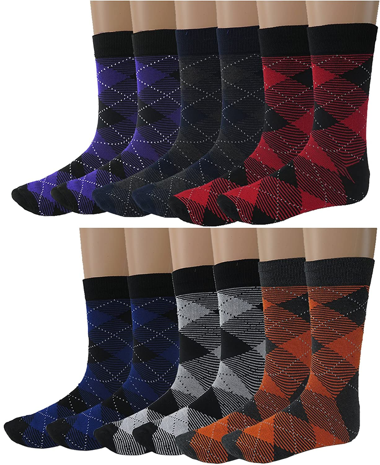 Debra Weitzner mens Dress Socks With Colorful Stripes Patterns- Cotton - Crew length - Pack of 12 Pairs sck-drss-12pk-3077