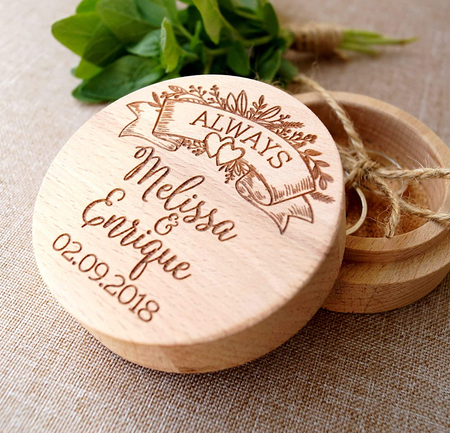 Wooden Wedding Ring Box Personalized Engraved Ring Name and Date Bearer Rustic