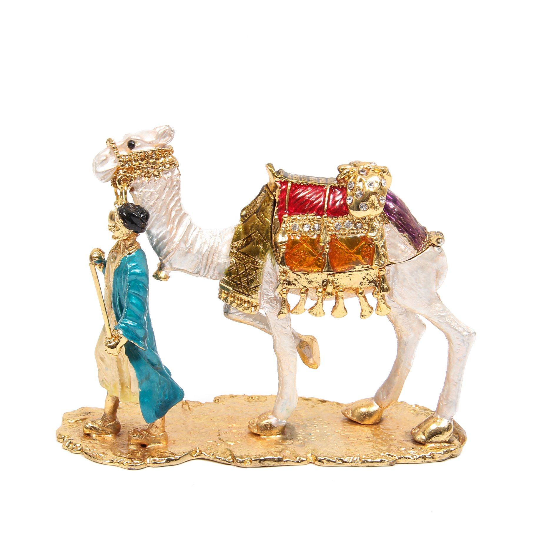 QIFU-Hand Painted Enameled Camel Decorative Hinged Jewelry Trinket Box Unique Gift for Home Decor