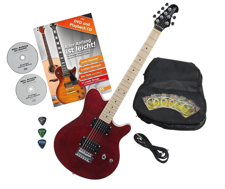 Rocktile Pro MM150-TR - Guitarra eléctrica Transparente Red con accesorios (Guitarra funda, cable, púas, guitarras Escuela con CD y DVD, gitra rrensaiten): ...