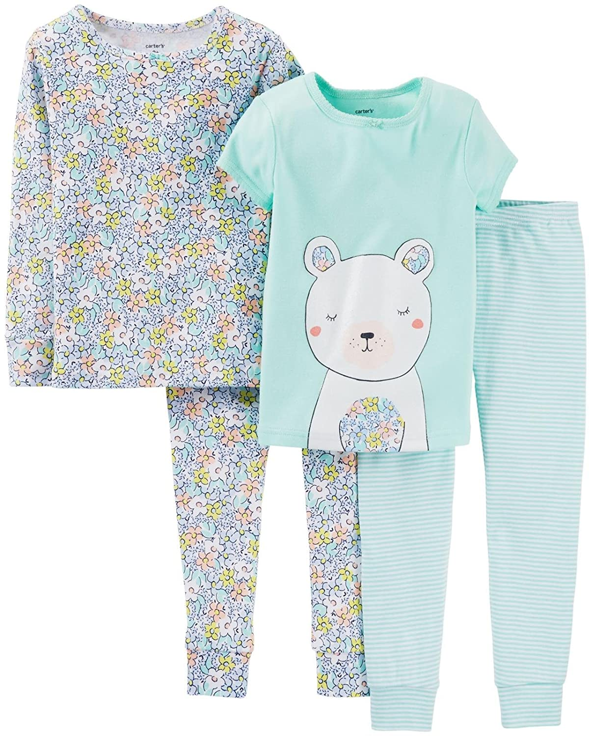 - Smile Carters Baby Girls 4 Piece PJ Set Baby 6 Months